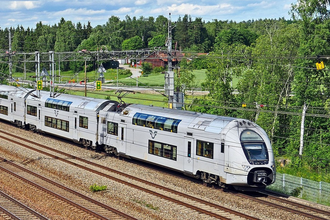 Sweden SJ train on departing from the station
